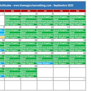 Calendario Multitudes Disney Septiembre 2020